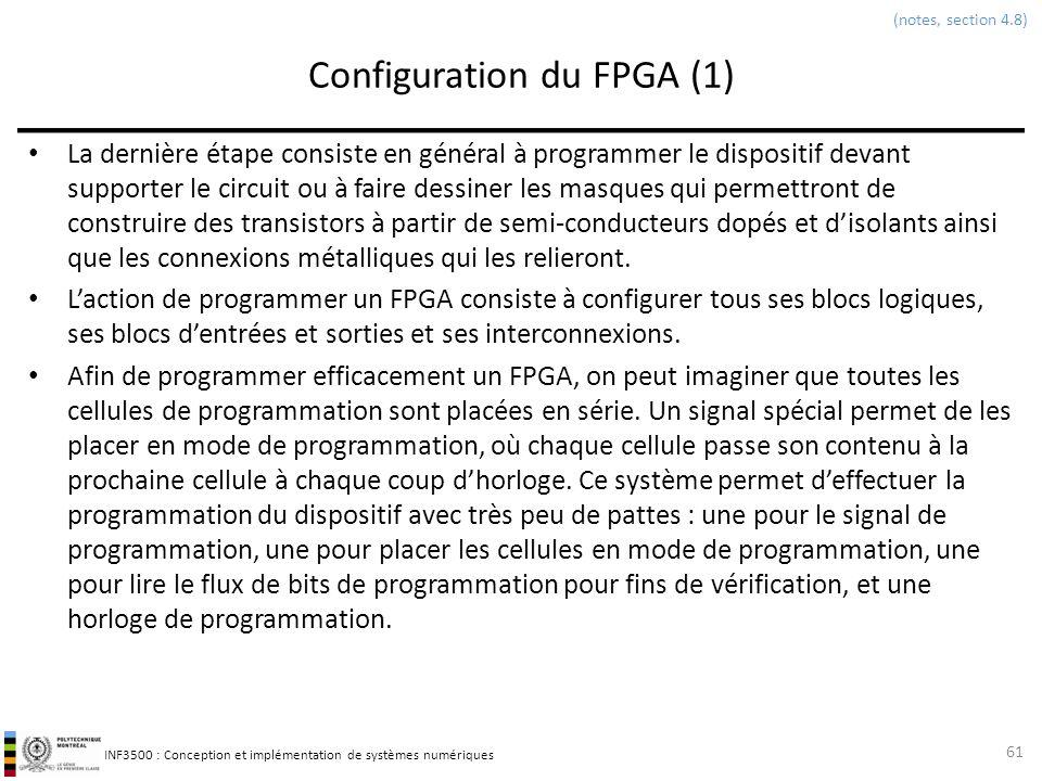 INF3500 : Conception et implémentation de systèmes numériques Configuration du FPGA (1) La dernière étape consiste en général à programmer le disposit