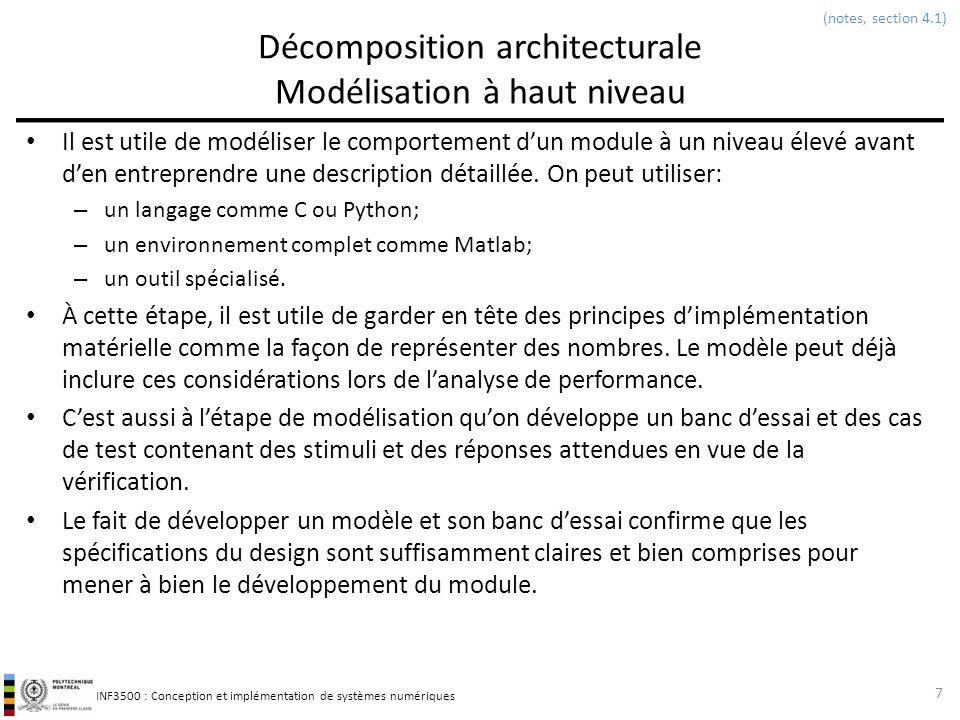 INF3500 : Conception et implémentation de systèmes numériques Décomposition architecturale Modélisation à haut niveau Il est utile de modéliser le com