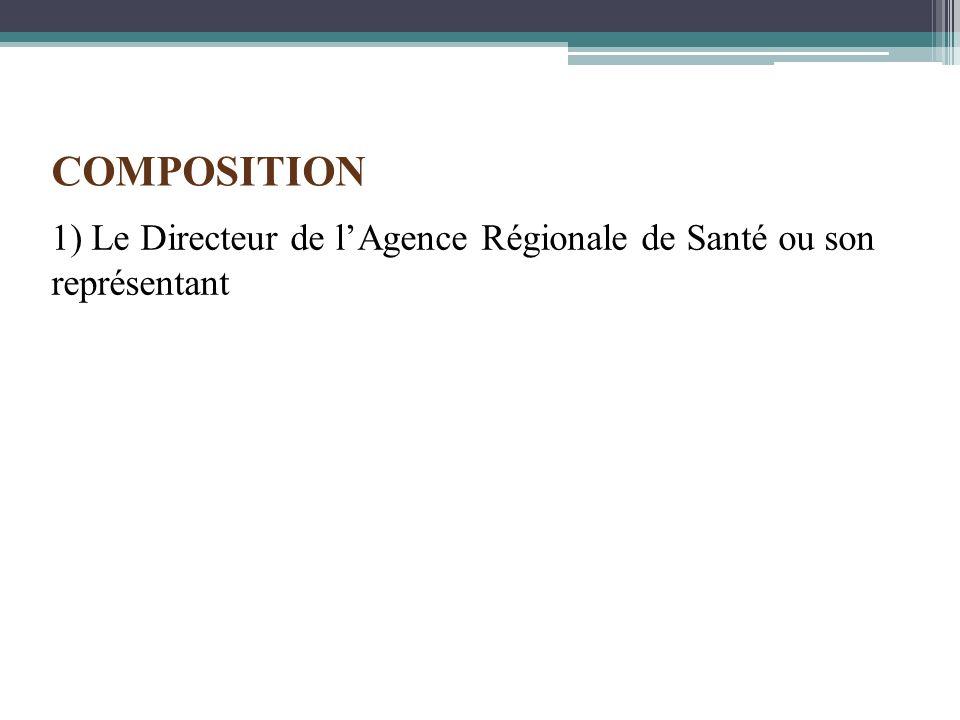 1) Le Directeur de lAgence Régionale de Santé ou son représentant COMPOSITION