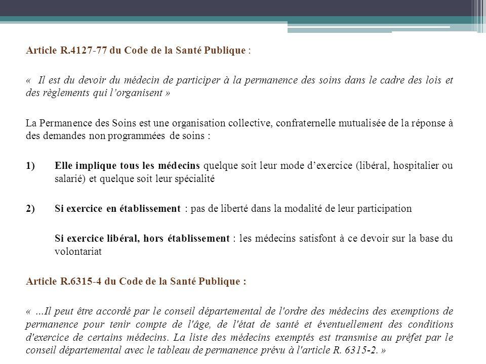 Article R.4127-77 du Code de la Santé Publique : « Il est du devoir du médecin de participer à la permanence des soins dans le cadre des lois et des r