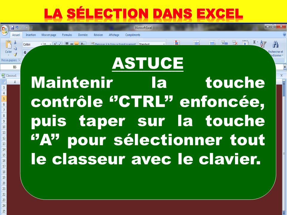 Sélectionner un classeur Cliquer sur le bouton Sélectionner tout Ce bouton est situé en haut du numéro 1 de la première ligne et à gauche du numéro A