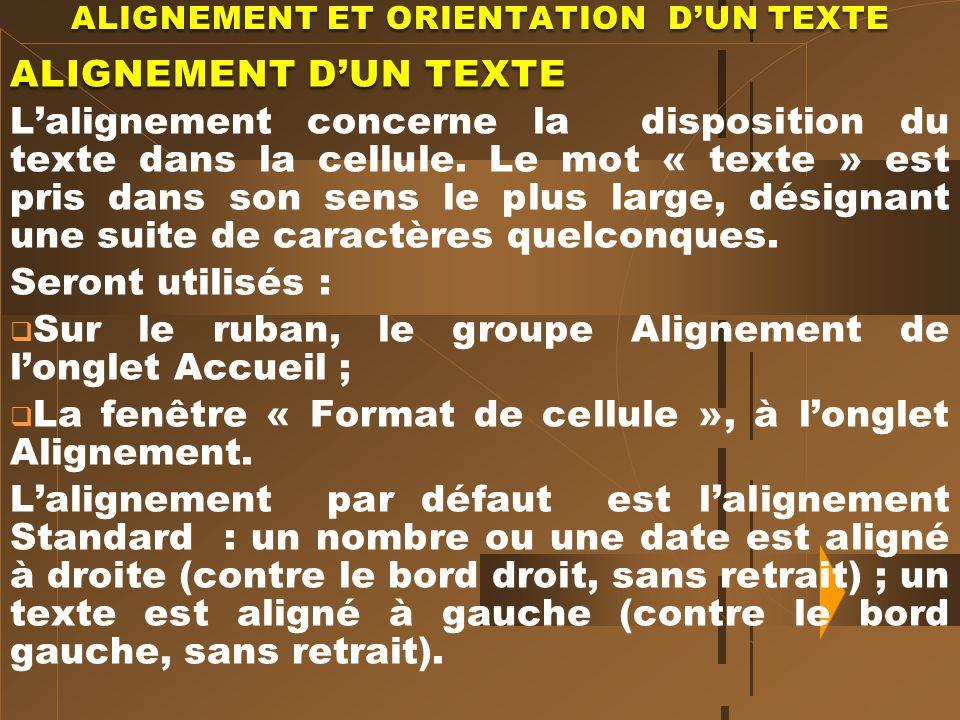 ALIGNEMENT DUN TEXTE Lalignement concerne la disposition du texte dans la cellule. Le mot « texte » est pris dans son sens le plus large, désignant un