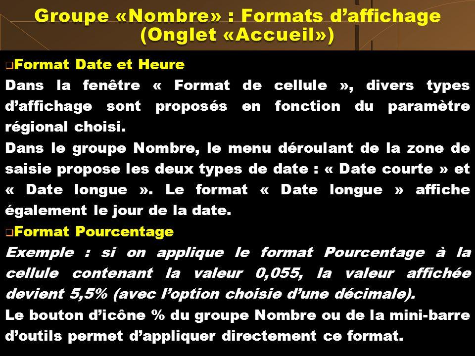 Format Date et Heure Dans la fenêtre « Format de cellule », divers types daffichage sont proposés en fonction du paramètre régional choisi. Dans le gr