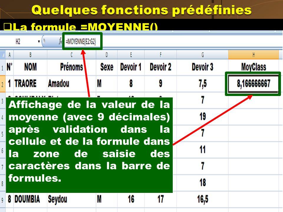 La formule =MOYENNE() Calculer sur la feuille SET1 la moyenne de classe du premier élève. Cliquer sur la cellule dans laquelle cette moyenne doit saff
