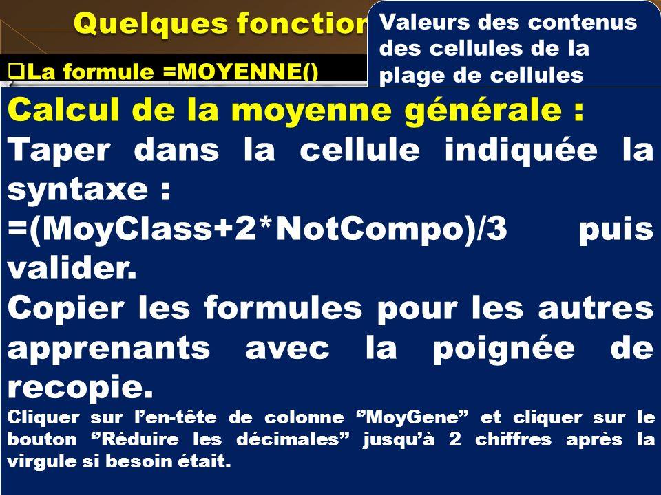 La formule =MOYENNE() Procédure 2 La boite de dialogue Arguments de la fonction apparait. Quelques fonctions prédéfinies Plage de cellules (par défaut
