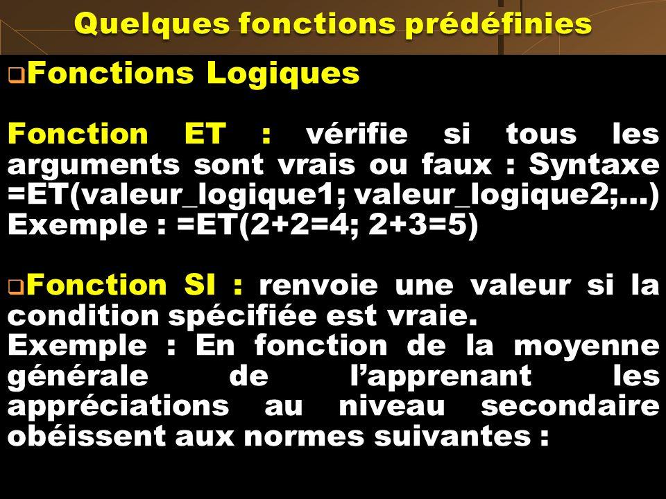 Fonctions Logiques Fonction ET : vérifie si tous les arguments sont vrais ou faux : Syntaxe =ET(valeur_logique1; valeur_logique2;…) Exemple : =ET(2+2=