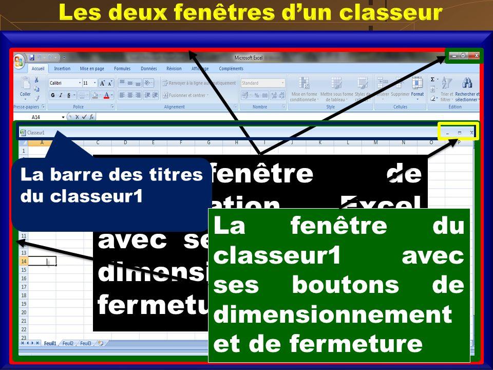 La fenêtre de lapplication Excel avec ses boutons de dimensionnement et fermeture La barre des titres du classeur1 La fenêtre du classeur1 avec ses bo