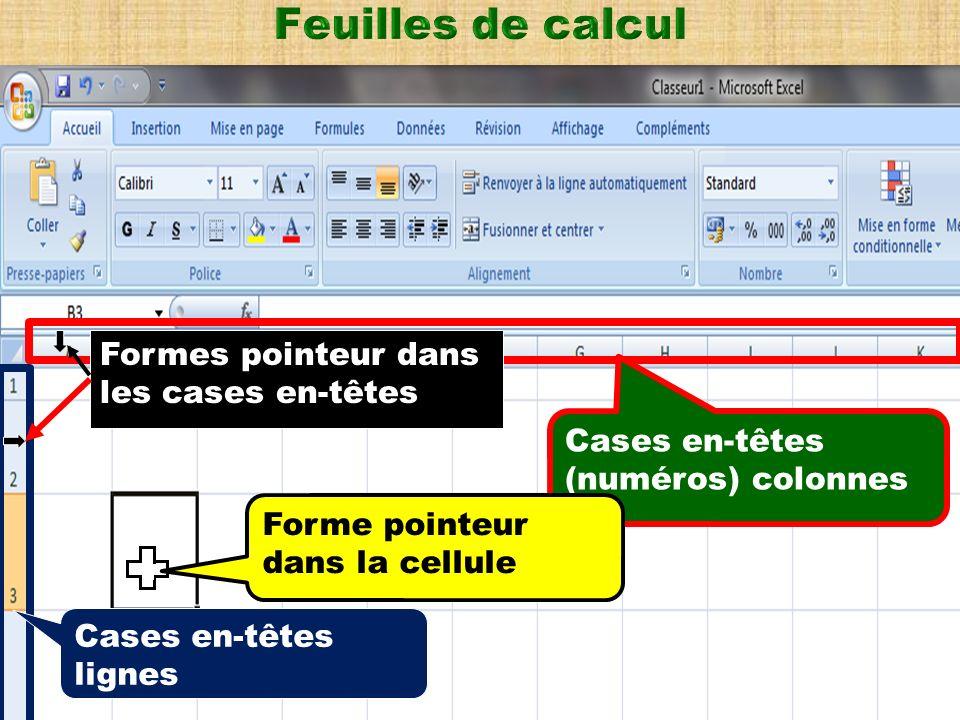 Insérer, afficher des feuilles dans un classeur A la suite des onglets correspondant aux feuilles existantes, un onglet dinfo-bulle Insérer une feuille de calcul permet dinsérer une nouvelle feuille.