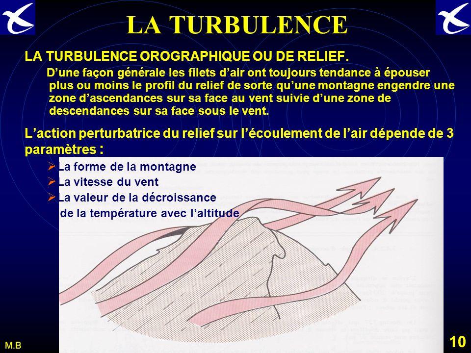 9 M.B LA TURBULENCE Lascendance thermique. Donnant naissance à des nuages de type Cumulus ou Cumulonimbus elle peut devenir un danger pour laéronautiq