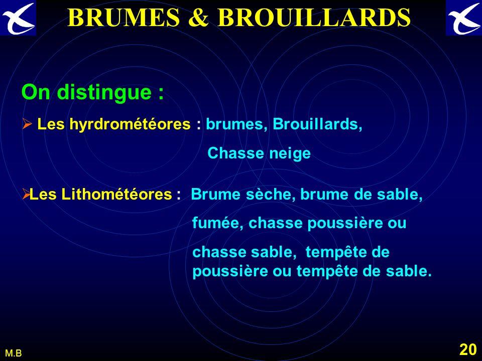 19 M.B BRUMES & BROUILLARDS Les hydrométéores dangereux pour laéronautique