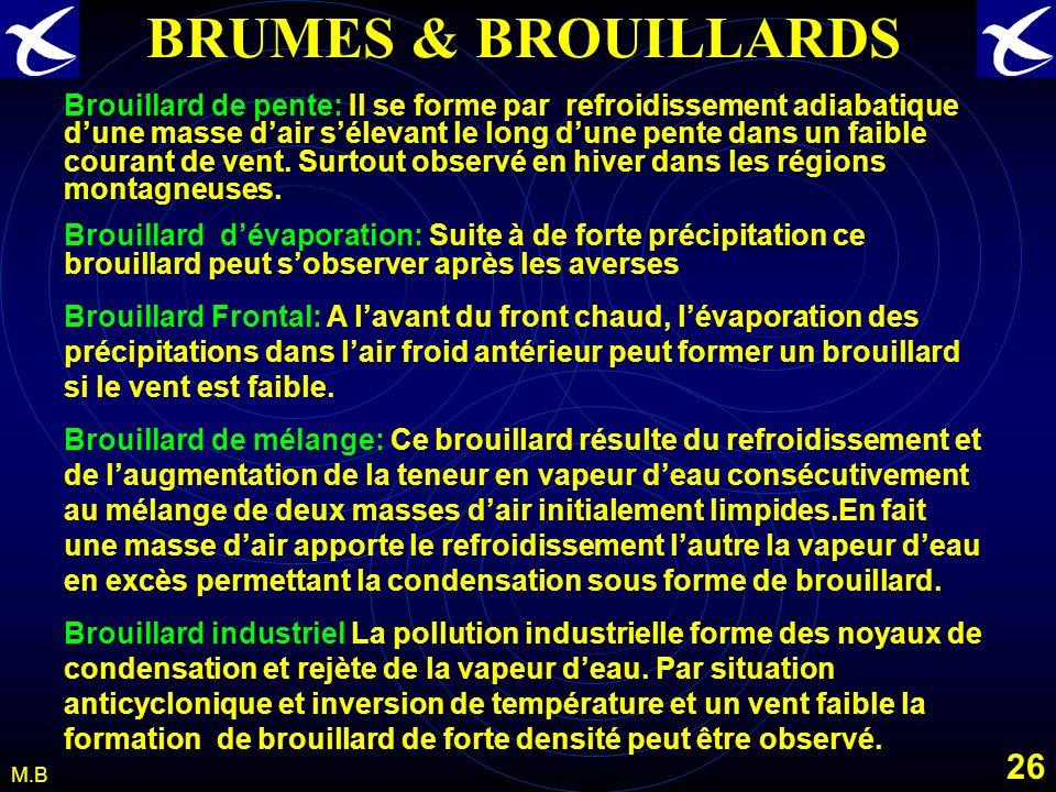 25 M.B BRUMES & BROUILLARDS Le brouillard dadvection. Le brouillard dadvection est du air refroidissement de la base dune masse dair humide, en mouvem