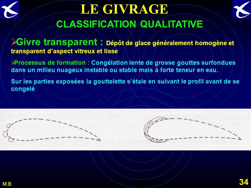 33 M.B LE GIVRAGE CLASSIFICATION QUALITATIVE Gelée blanche : Dépôt de glace daspect cristallin le plus souvent en forme décailles, daiguilles, de plum
