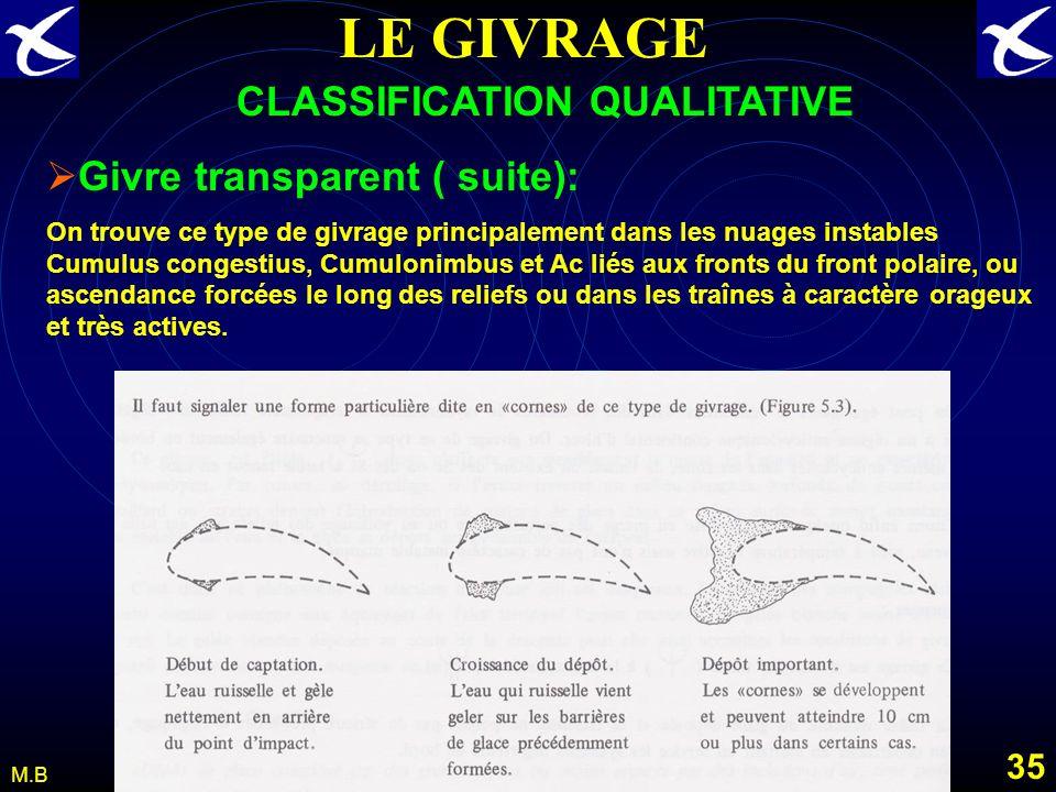 34 M.B LE GIVRAGE CLASSIFICATION QUALITATIVE Givre transparent : Dépôt de glace généralement homogène et transparent daspect vitreux et lisse Processu