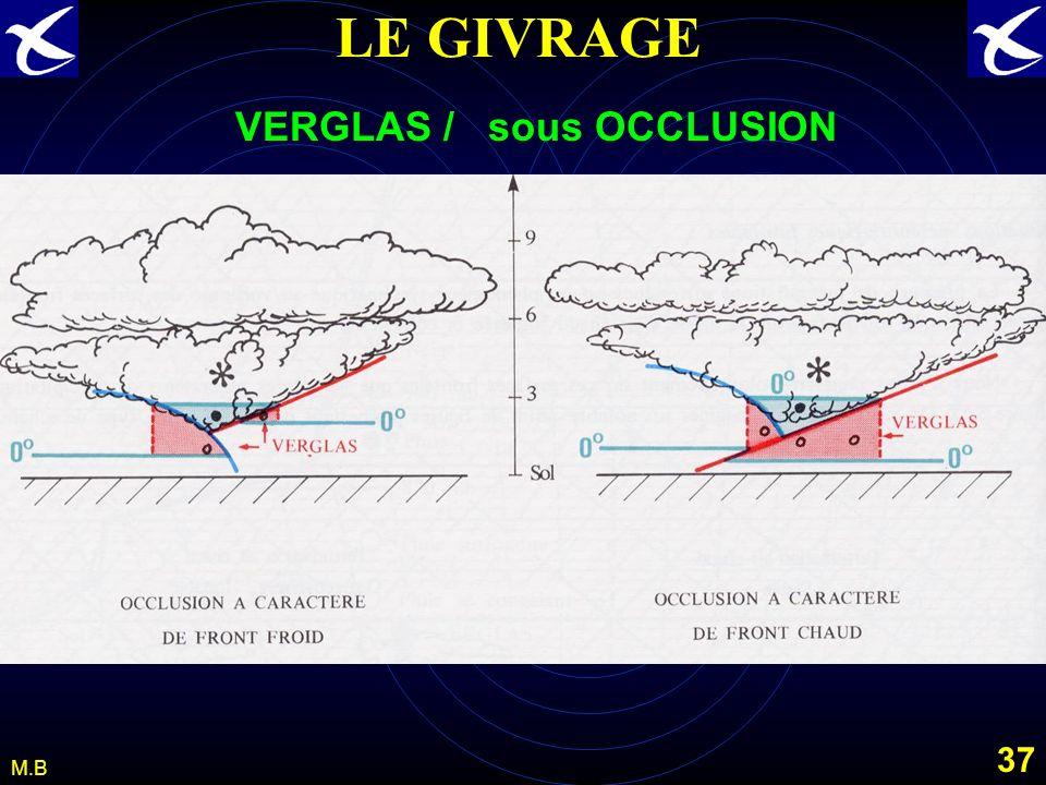 36 M.B LE GIVRAGE Le VERGLAS : Définitions : dépôt de glace généralement homogène et transparent, provenant de la congélation de gouttelettes de bruin