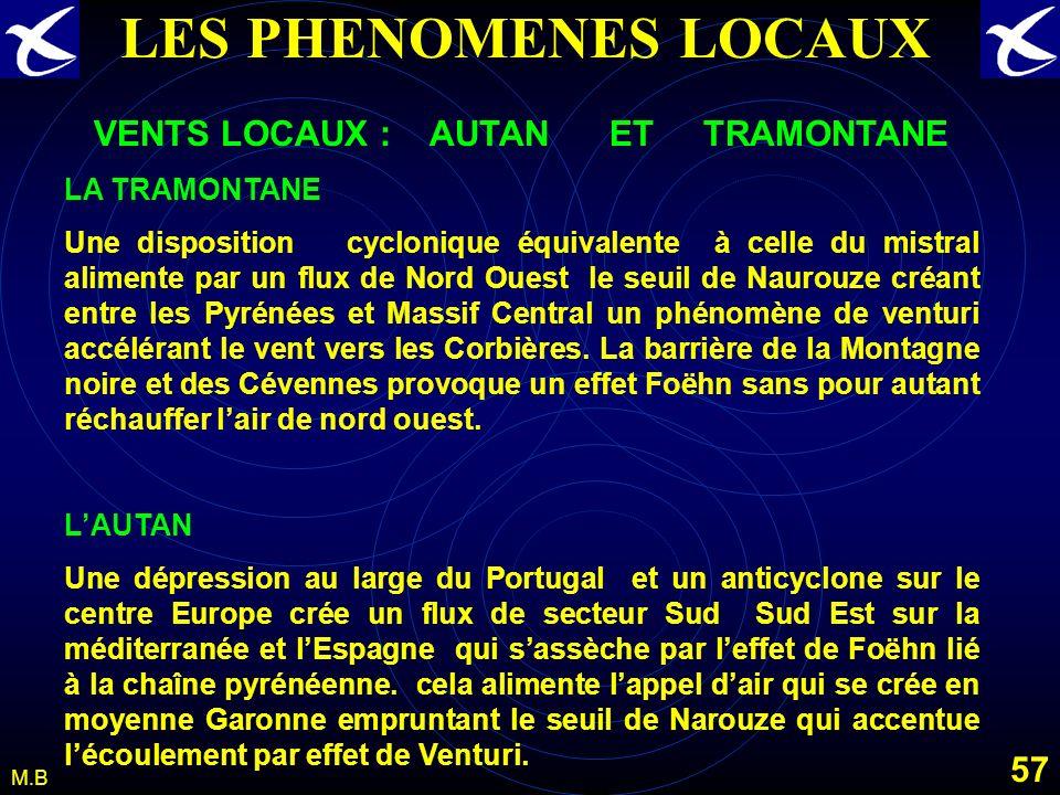 56 M.B LES PHENOMENES LOCAUX LES VENTS LOCAUX: LE MISTRAL Un anticyclone sur le proche atlantique et la peninsule ibérique une dépression dans le golf