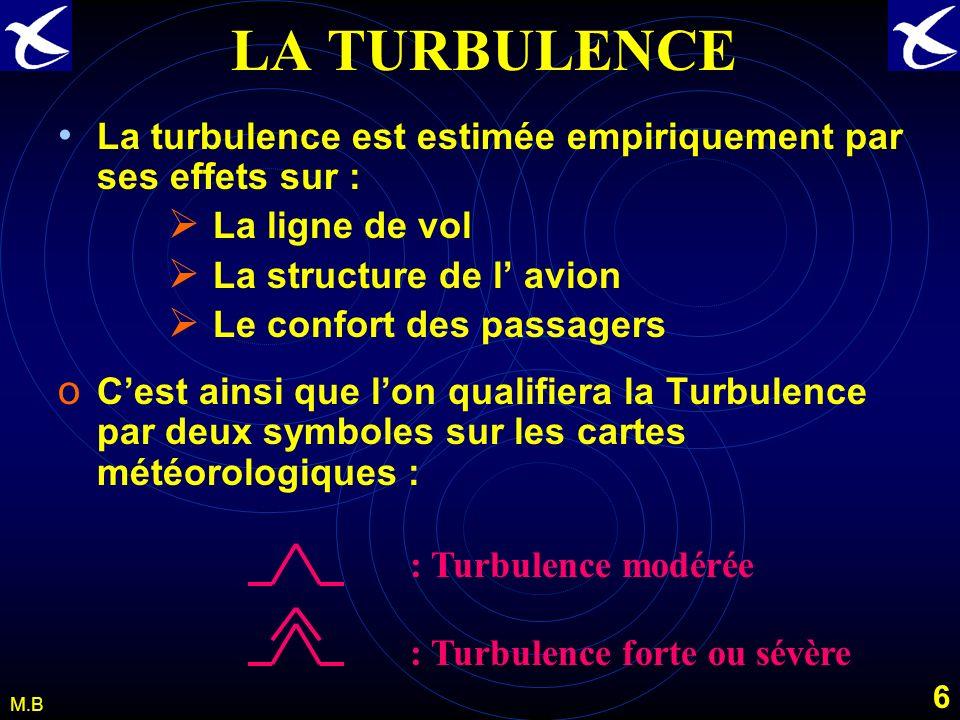 5 M.B LA TURBULENCE Classement OACI de la turbulence par niveau dintensité suivant la valeur de laccélération ( ) du centre de gravité