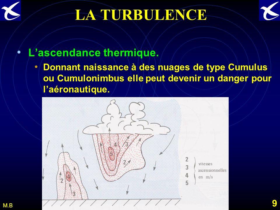 8 M.B LA TURBULENCE CONVECTIVE Léchauffement irrégulier des cellules dair au contact du sol provoque des variations de densité et crée linstabilité de