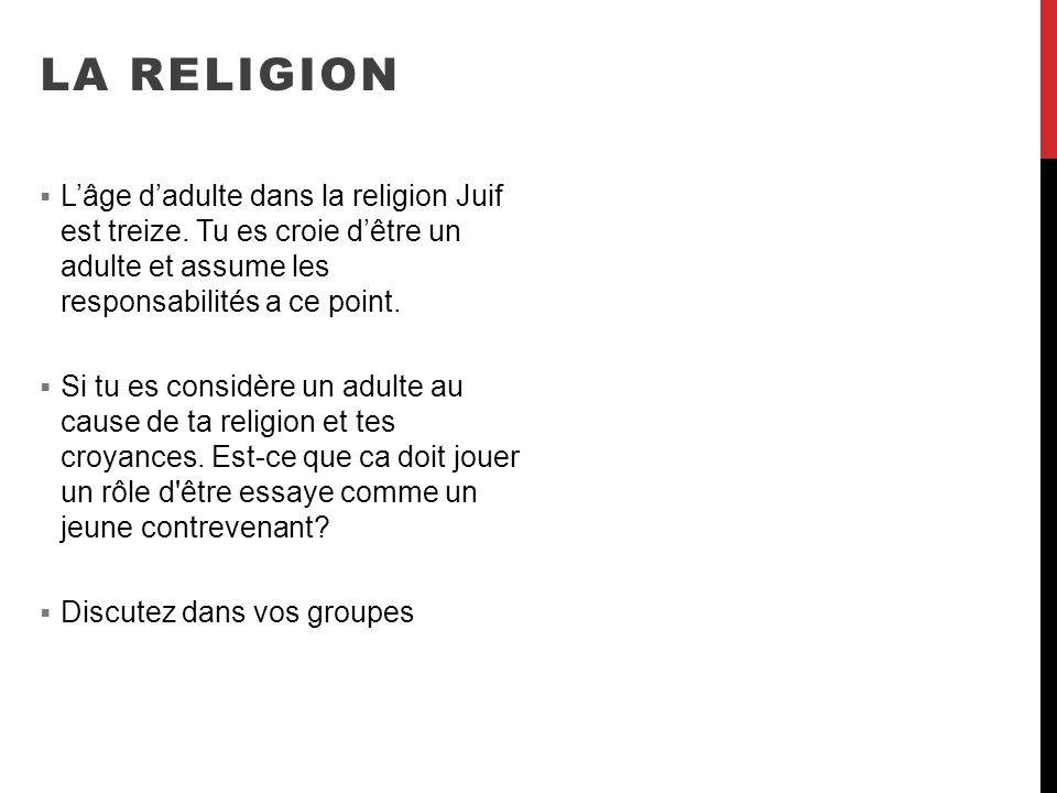 LA RELIGION Lâge dadulte dans la religion Juif est treize. Tu es croie dêtre un adulte et assume les responsabilités a ce point. Si tu es considère un