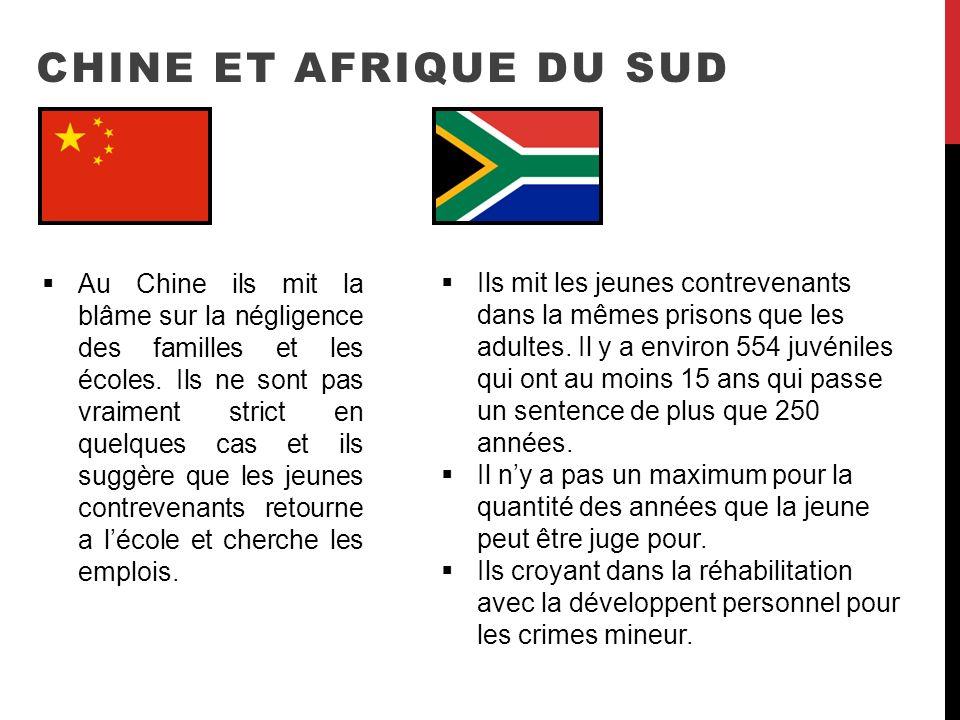 CHINE ET AFRIQUE DU SUD Ils mit les jeunes contrevenants dans la mêmes prisons que les adultes. Il y a environ 554 juvéniles qui ont au moins 15 ans q