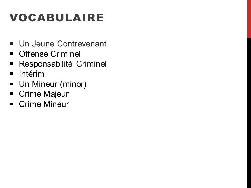 VOCABULAIRE Un Jeune Contrevenant Offense Criminel Responsabilité Criminel Intérim Un Mineur (minor) Crime Majeur Crime Mineur