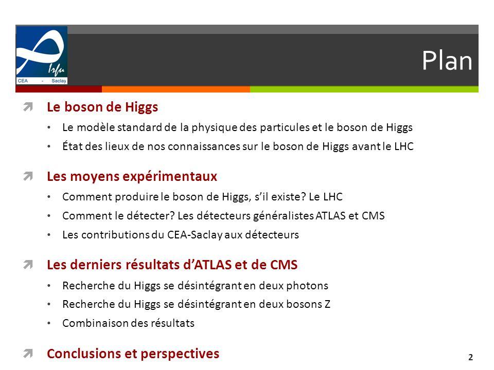 Connaissances avant le LHC 33 Recherches directes avant le LHC: Le LEP au CERN (Genève) de 1989 à 2000 (collisions électron-positon à la masse du Z, puis à 130 GeV et 209 GeV) Gamme de masse en dessous de 115 GeV exclue à 95% de niveau de confiance Le Tevatron au Fermilab (Chicago) de 1992- 2011 (collisions proton-antiproton à 1.96 TeV) Première exclusion dune zone autour de 160 GeV en 2010 (m H [158-173] GeV) Gamme de masse entre 147 et 179 GeV exclue à 95% de niveau de confiance à lhiver 2012 m H >114.4 GeV à 95% de niveau de confiance