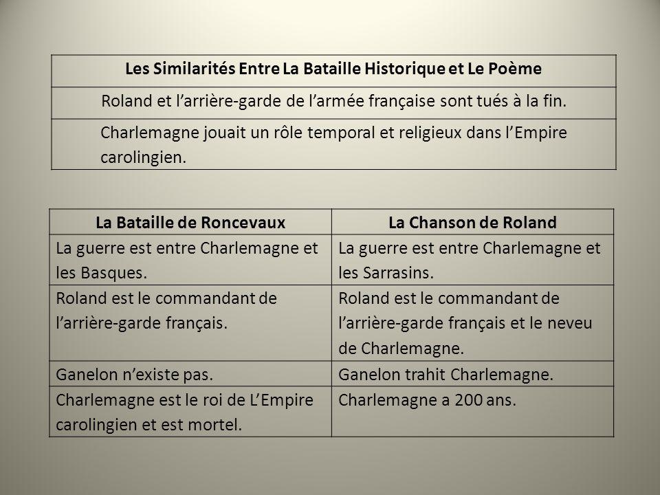 La Bataille de Roncevaux La Chanson de Roland La guerre est entre Charlemagne et les Basques. La guerre est entre Charlemagne et les Sarrasins. Roland
