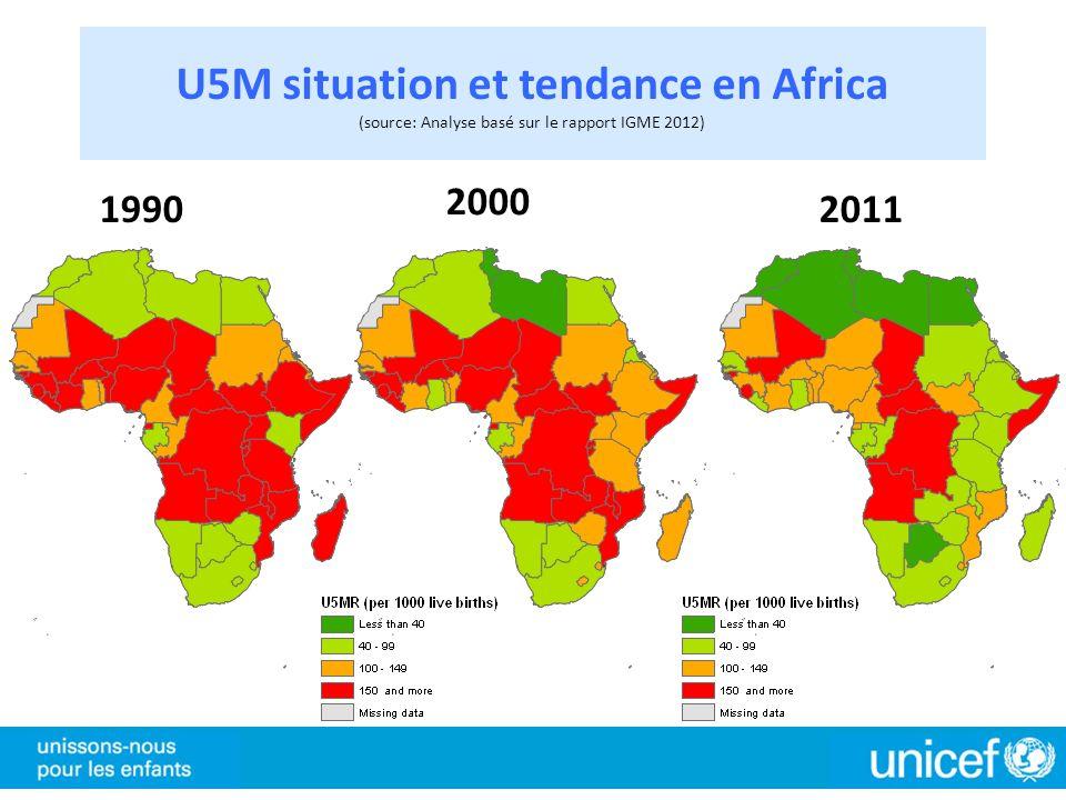 U5M situation et tendance en Africa (source: Analyse basé sur le rapport IGME 2012) 1990 2000 2011
