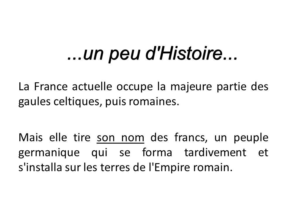 La France actuelle occupe la majeure partie des gaules celtiques, puis romaines.