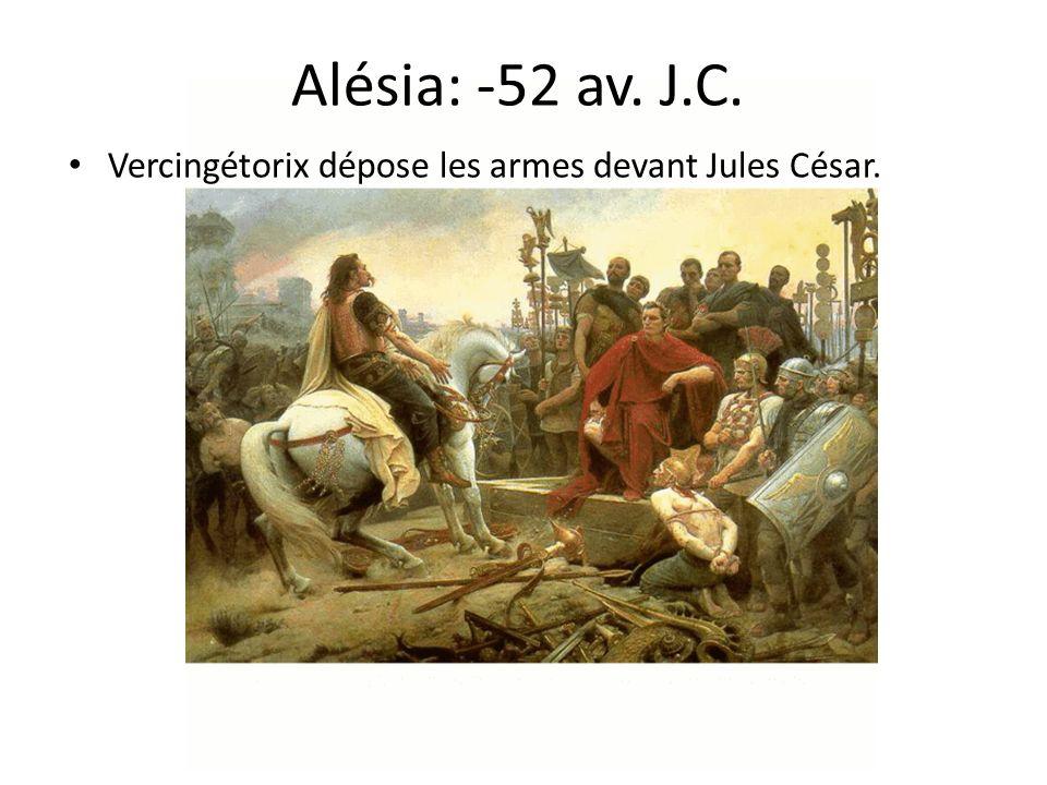 Alésia: -52 av. J.C. Vercingétorix dépose les armes devant Jules César.