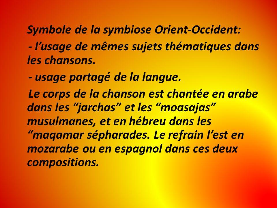 Symbole de la symbiose Orient-Occident: - lusage de mêmes sujets thématiques dans les chansons. - usage partagé de la langue. Le corps de la chanson e