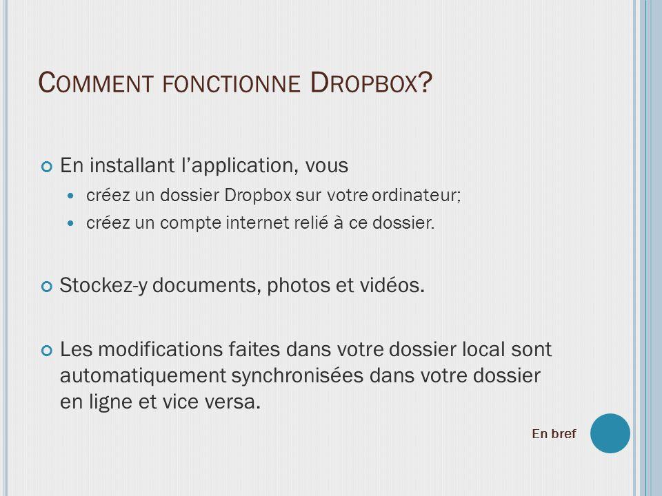 En installant lapplication, vous créez un dossier Dropbox sur votre ordinateur; créez un compte internet relié à ce dossier. Stockez-y documents, phot