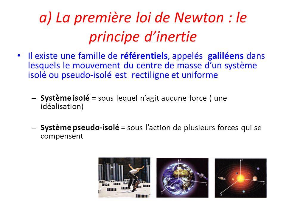 a) La première loi de Newton : le principe dinertie Il existe une famille de référentiels, appelés galiléens dans lesquels le mouvement du centre de m