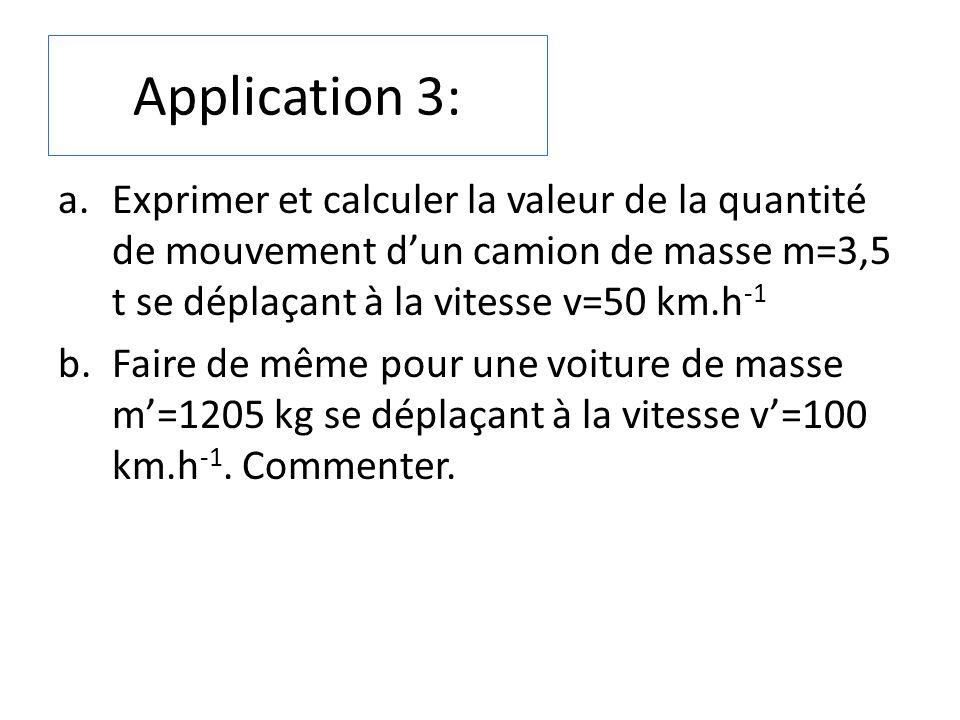 Application 3: a.Exprimer et calculer la valeur de la quantité de mouvement dun camion de masse m=3,5 t se déplaçant à la vitesse v=50 km.h -1 b.Faire