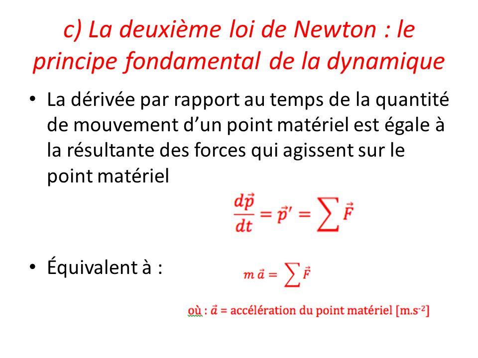 c) La deuxième loi de Newton : le principe fondamental de la dynamique La dérivée par rapport au temps de la quantité de mouvement dun point matériel