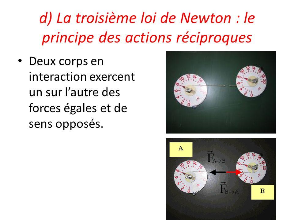 d) La troisième loi de Newton : le principe des actions réciproques Deux corps en interaction exercent un sur lautre des forces égales et de sens oppo