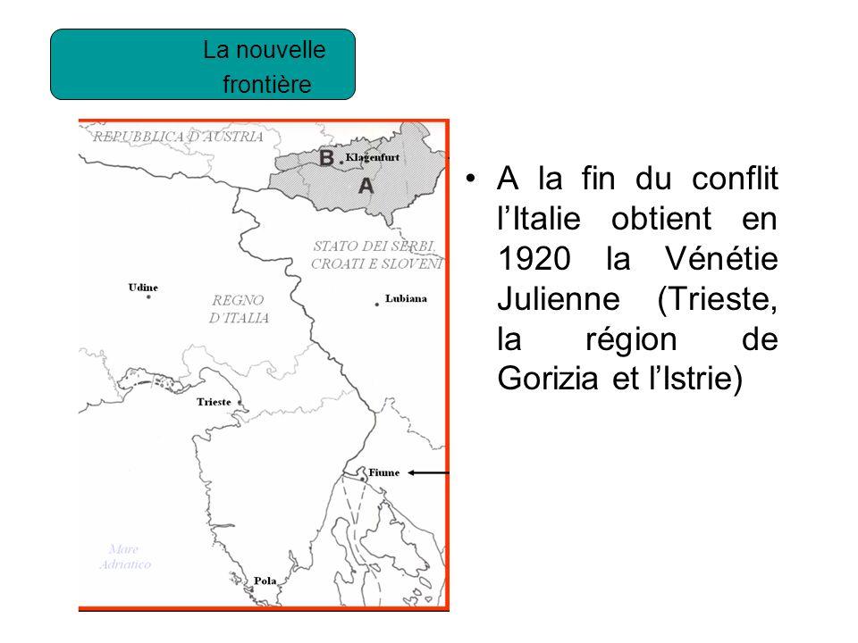 Litalie obtient en 1920 la vénétie julienne (trieste, la région de