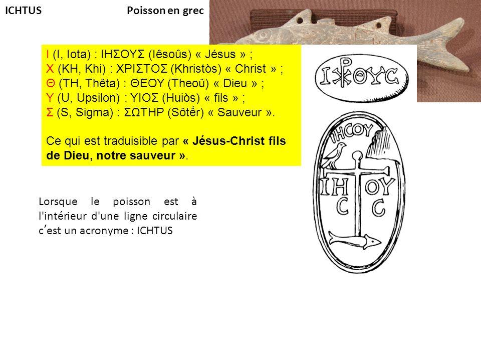 Poisson en grec I (I, Iota) : ΙΗΣΟΥΣ (Iêsoûs) « Jésus » ; Χ (KH, Khi) : ΧΡΙΣΤΟΣ (Khristòs) « Christ » ; Θ (TH, Thêta) : ΘΕΟΥ (Theoû) « Dieu » ; Υ (U,