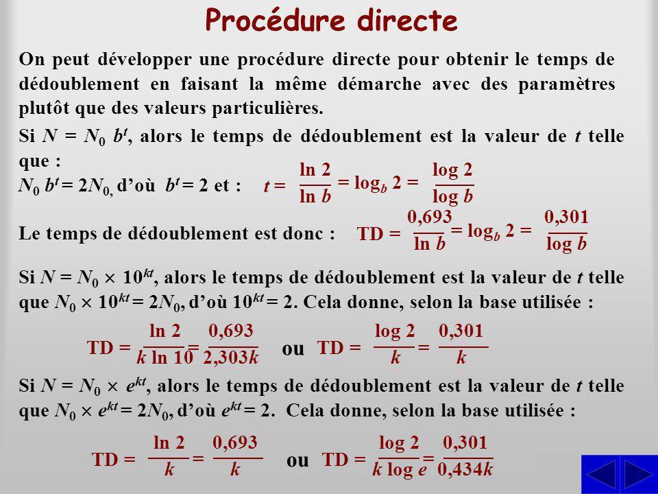 Procédure directe On peut développer une procédure directe pour obtenir le temps de dédoublement en faisant la même démarche avec des paramètres plutôt que des valeurs particulières.