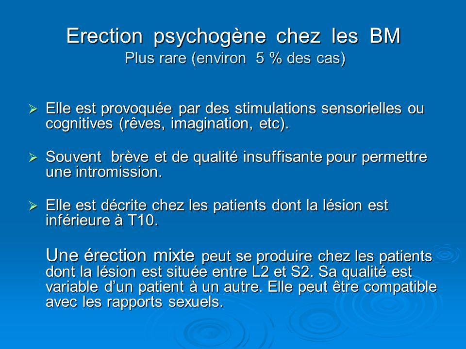 Erection psychogène chez les BM Plus rare (environ 5 % des cas) Elle est provoquée par des stimulations sensorielles ou cognitives (rêves, imagination