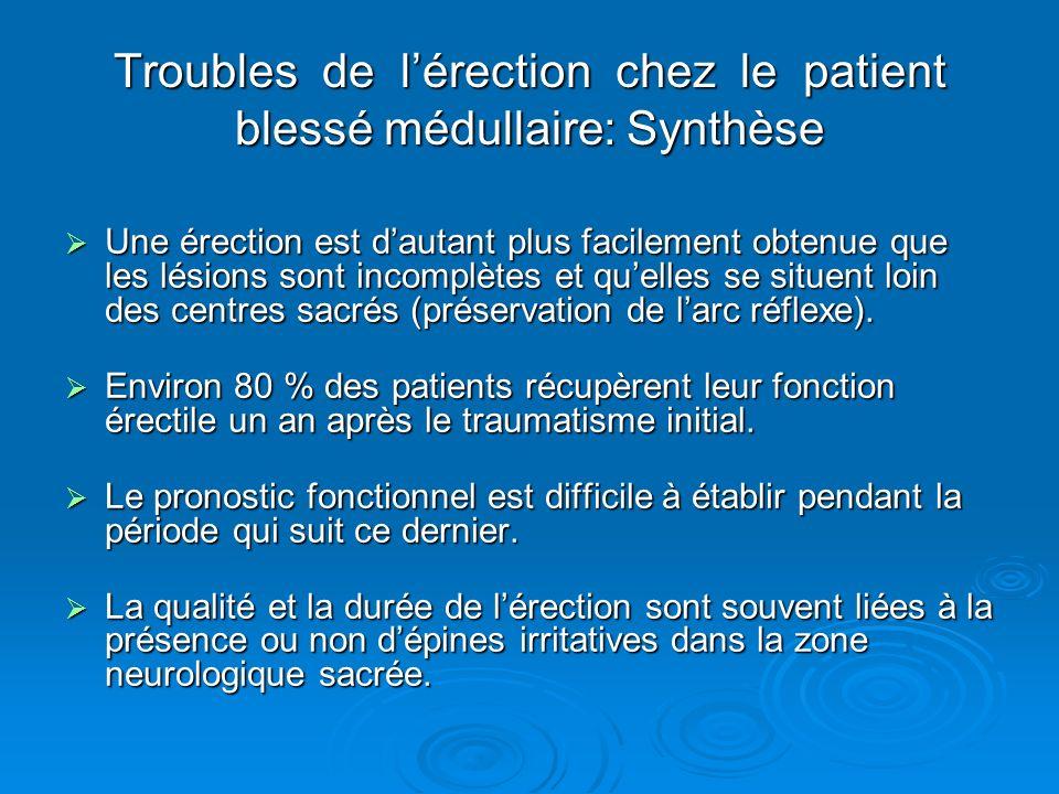 Troubles de lérection chez le patient blessé médullaire: Synthèse Une érection est dautant plus facilement obtenue que les lésions sont incomplètes et