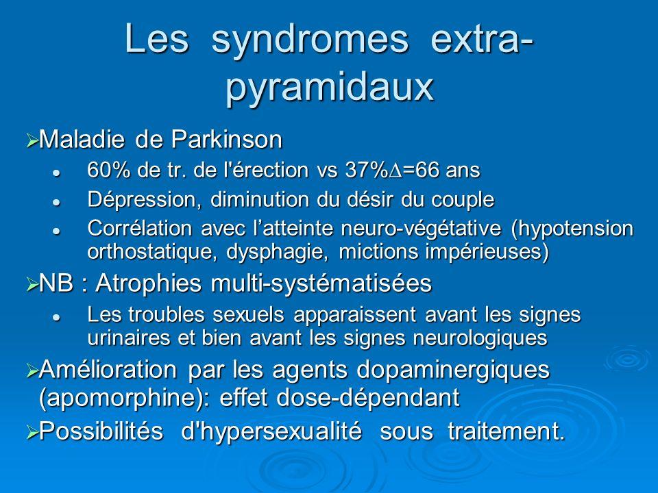 Maladie de Parkinson Maladie de Parkinson 60% de tr. de l'érection vs 37%=66 ans 60% de tr. de l'érection vs 37%=66 ans Dépression, diminution du dési