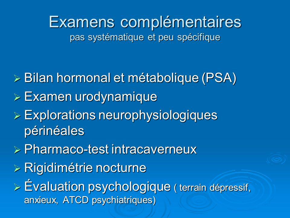 Examens complémentaires pas systématique et peu spécifique Bilan hormonal et métabolique (PSA) Bilan hormonal et métabolique (PSA) Examen urodynamique