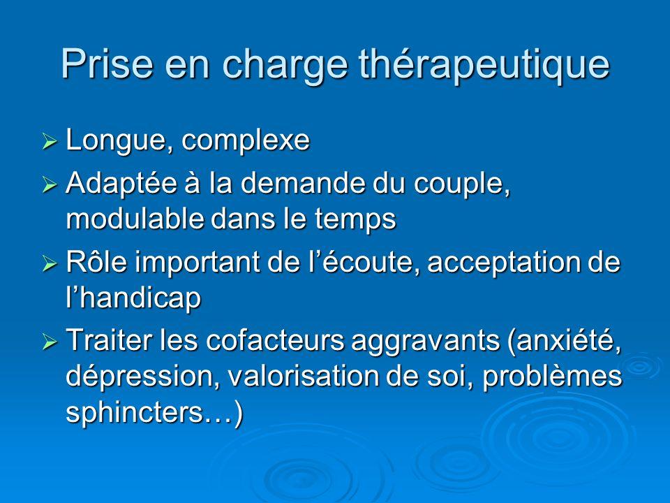 Prise en charge thérapeutique Longue, complexe Longue, complexe Adaptée à la demande du couple, modulable dans le temps Adaptée à la demande du couple