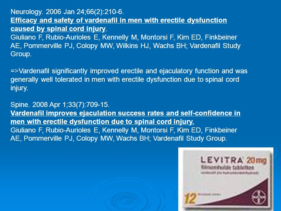 Neurology. 2006 Jan 24;66(2):210-6. Efficacy and safety of vardenafil in men with erectile dysfunction caused by spinal cord injury. Giuliano F, Rubio