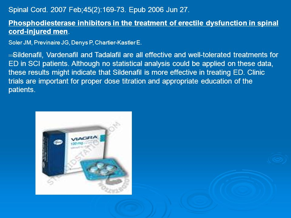 Spinal Cord. 2007 Feb;45(2):169-73. Epub 2006 Jun 27. Phosphodiesterase inhibitors in the treatment of erectile dysfunction in spinal cord-injured men