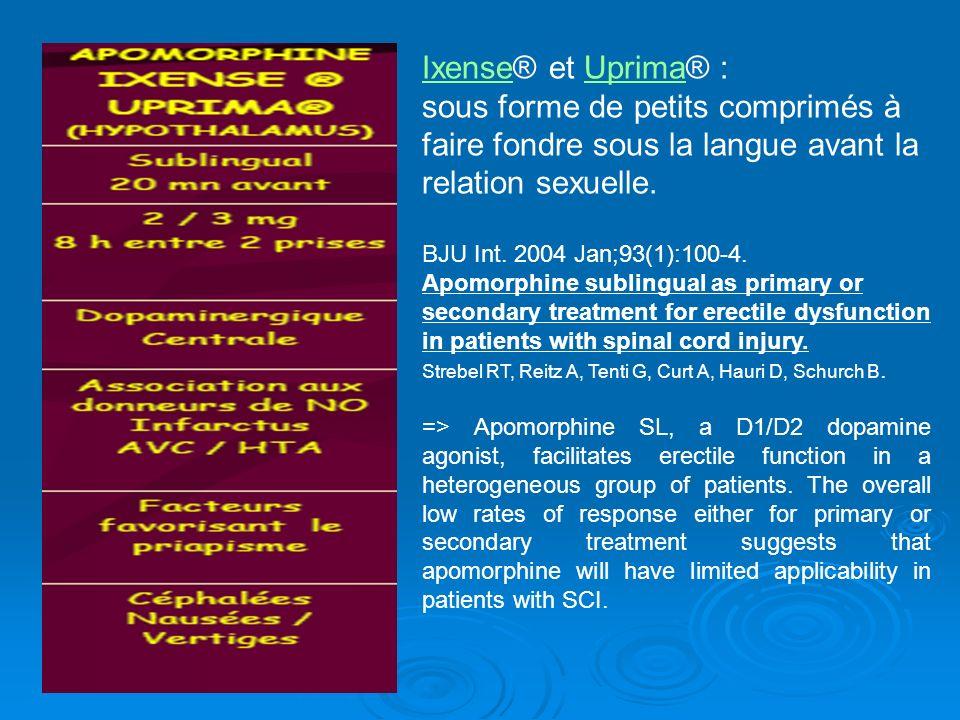 IxenseIxense® et Uprima® :Uprima sous forme de petits comprimés à faire fondre sous la langue avant la relation sexuelle. BJU Int. 2004 Jan;93(1):100-
