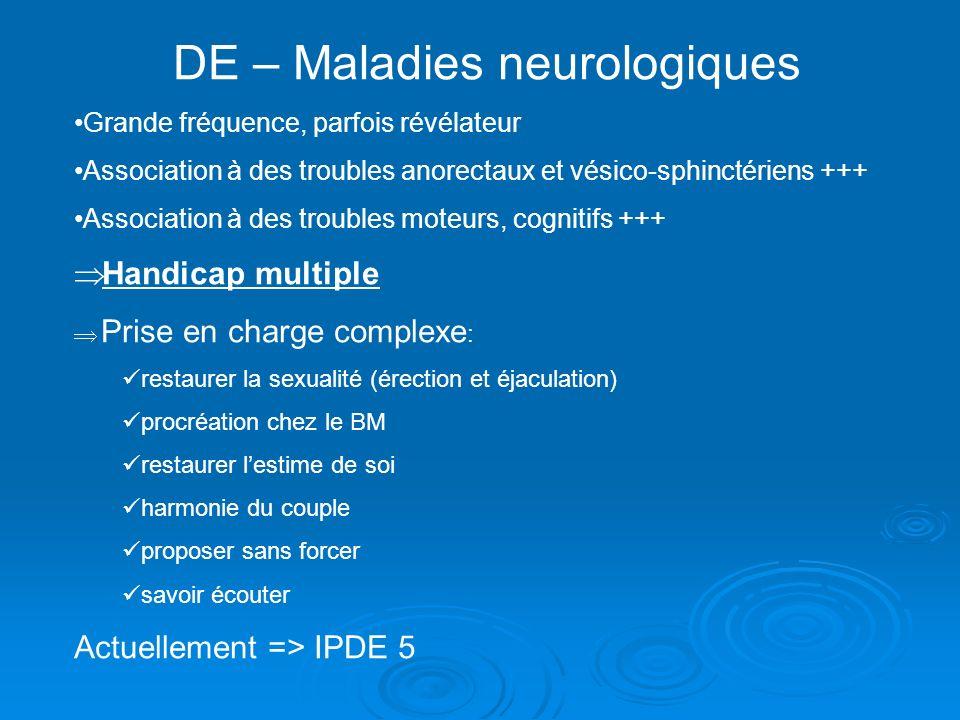 DE – Maladies neurologiques Grande fréquence, parfois révélateur Association à des troubles anorectaux et vésico-sphinctériens +++ Association à des t