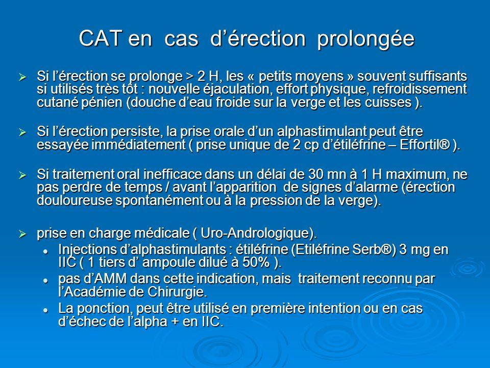 CAT en cas dérection prolongée Si lérection se prolonge > 2 H, les « petits moyens » souvent suffisants si utilisés très tôt : nouvelle éjaculation, e