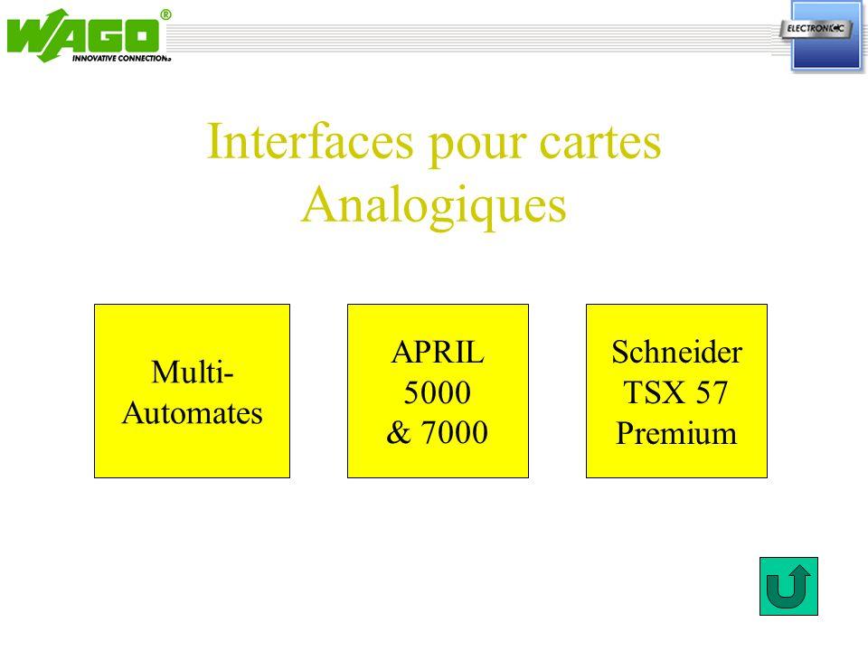 Interfaces pour cartes Analogiques Multi- Automates Schneider TSX 57 Premium APRIL 5000 & 7000