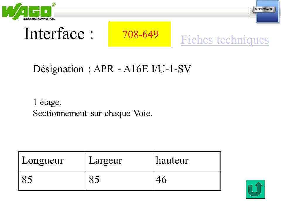 708-649 Désignation : APR - A16E I/U-1-SV Interface : LongueurLargeurhauteur 85 46 1 étage. Sectionnement sur chaque Voie. Fiches techniques